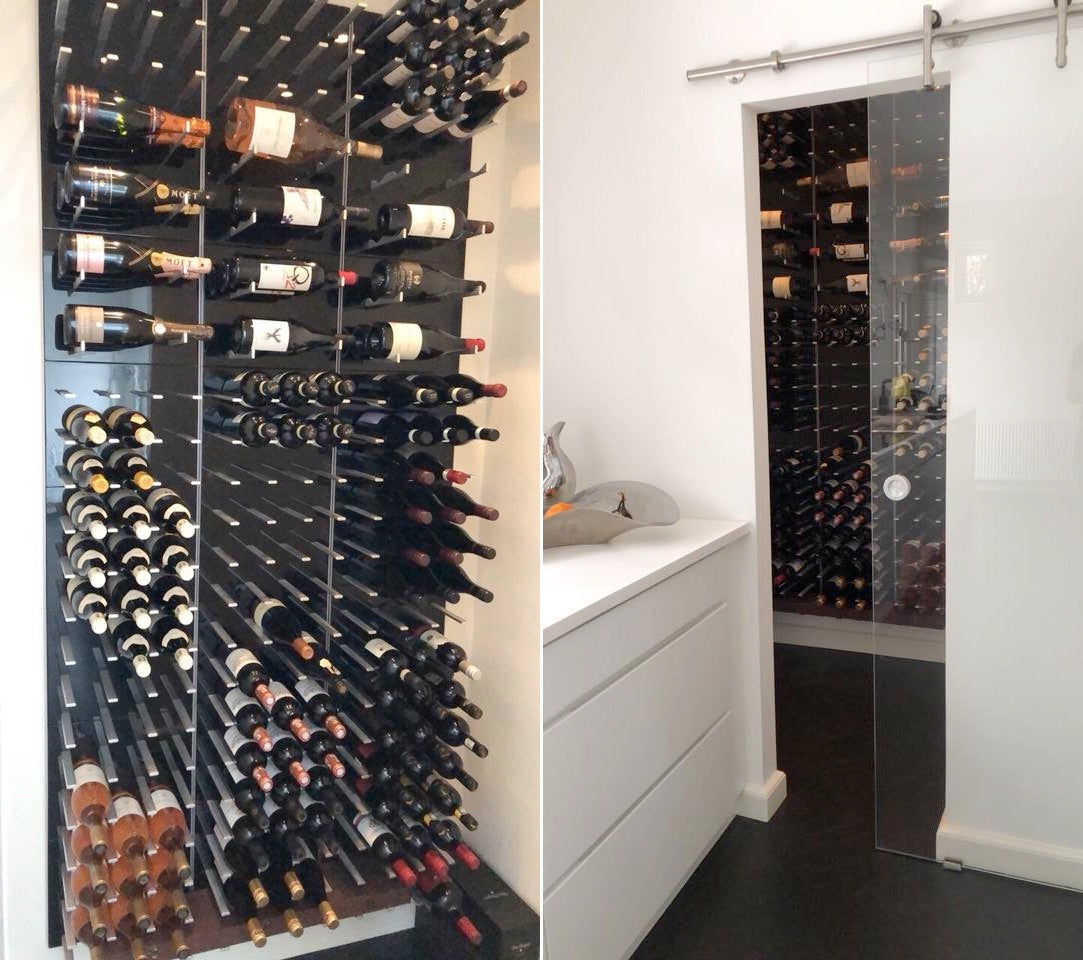 compact wine room with sliding glass door