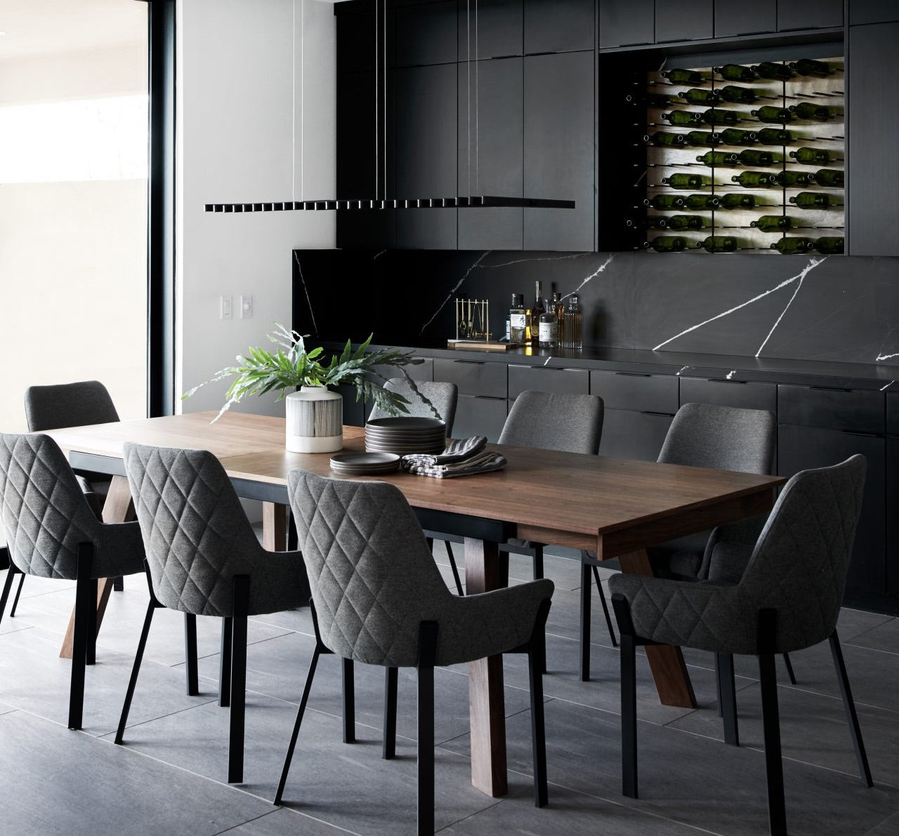 contemporary home wine bar storage