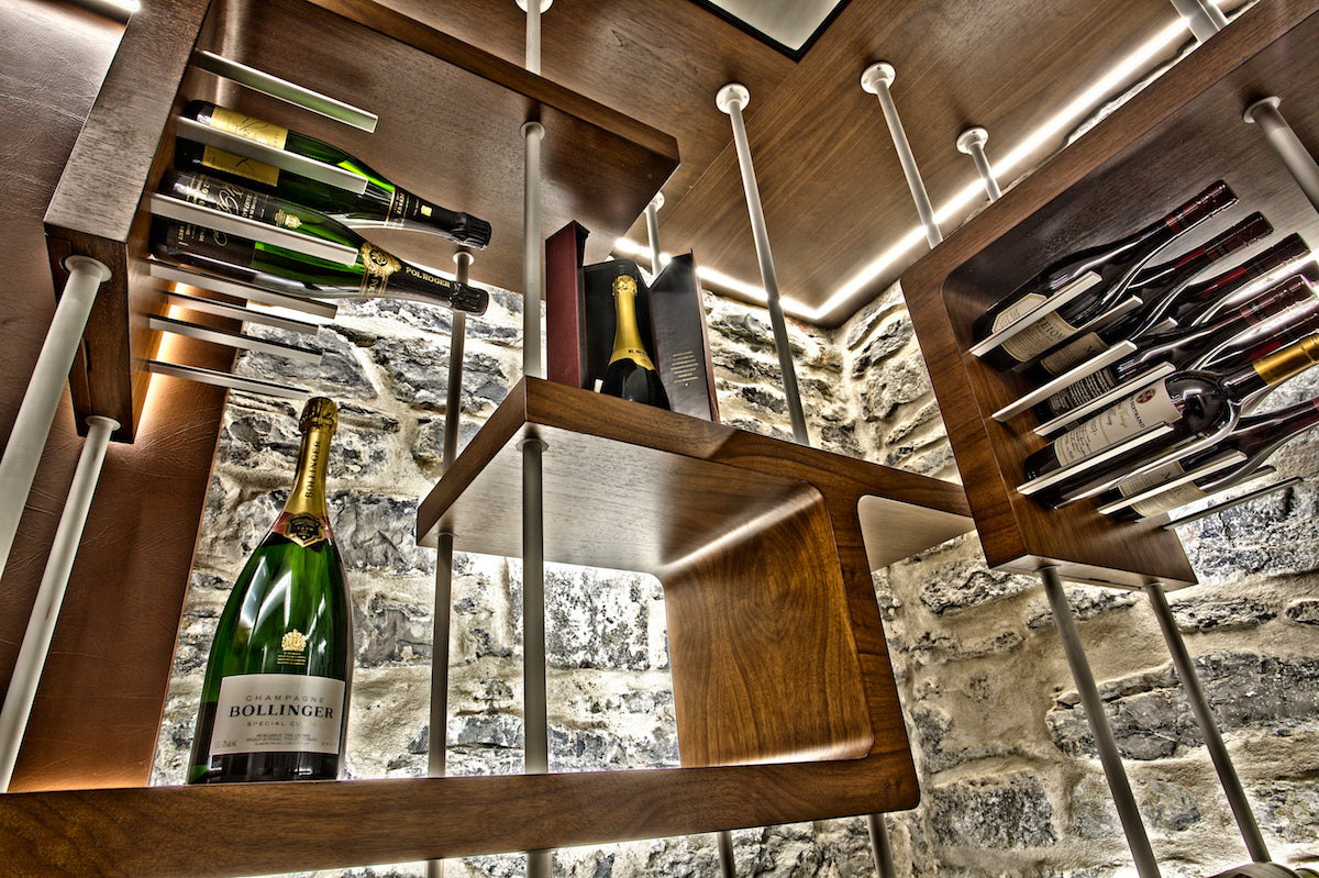 floor-to-ceiling custom wine racking for luxury wine cellars