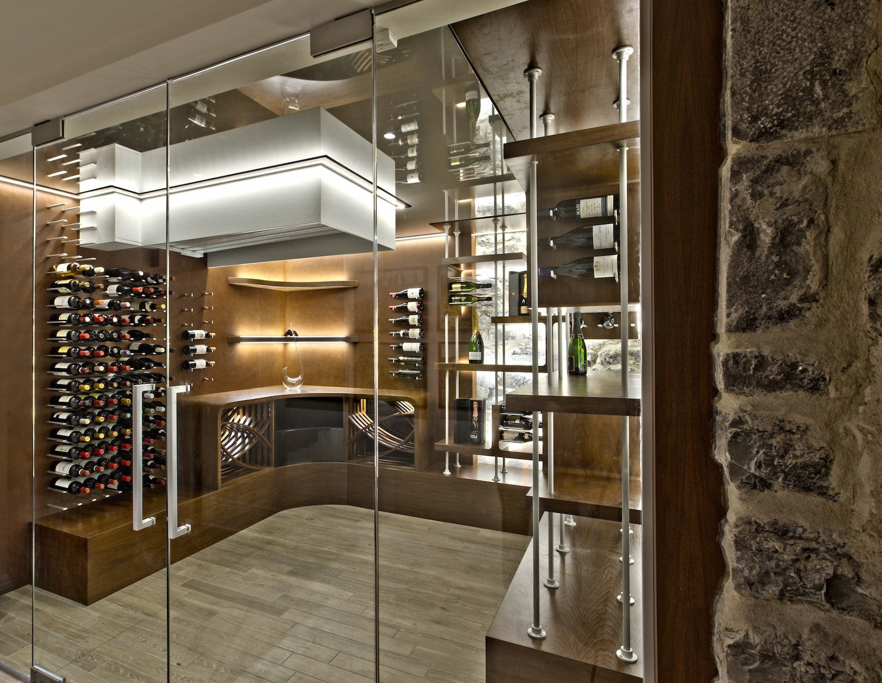 Glass enclosed wine cellars stact wine racks for Wine room ideas