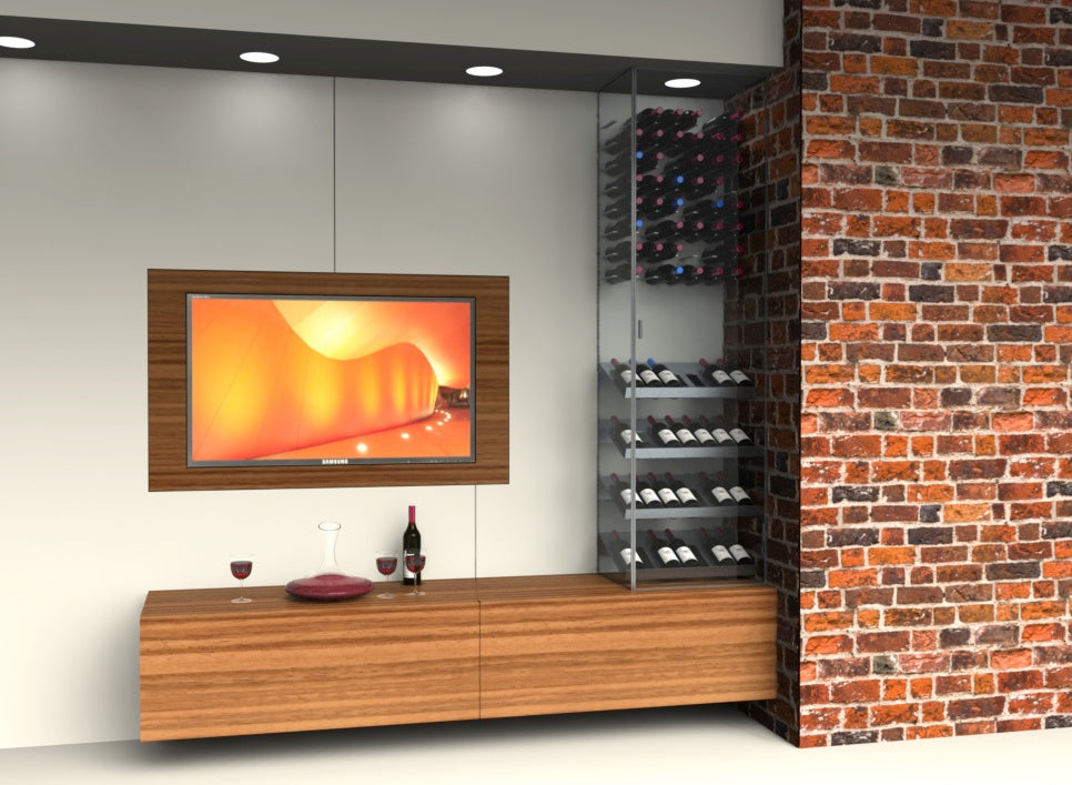 custom wine rack design using STACT custom and glass enclosure in the living room