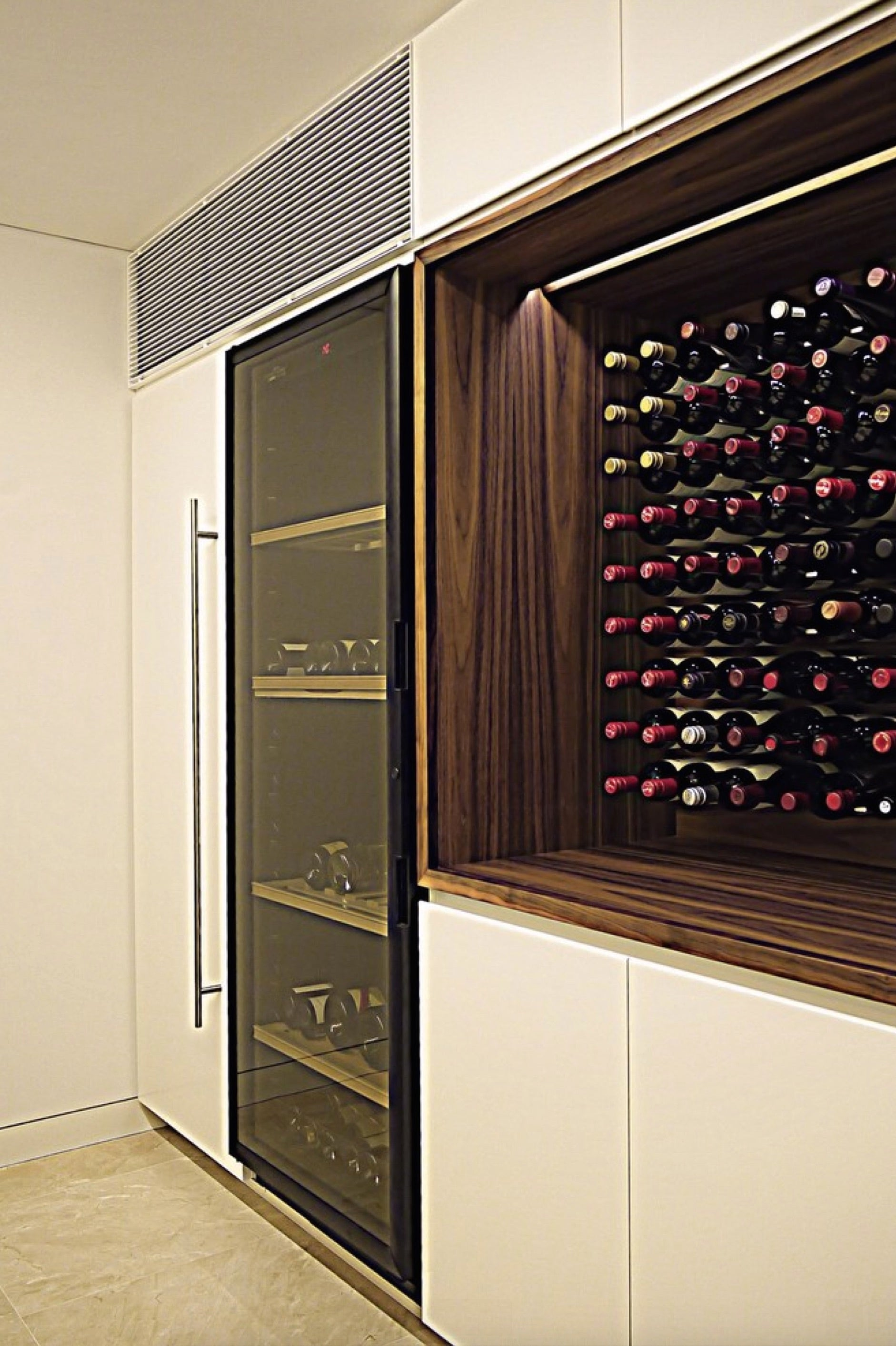 Built in wine racks for kitchen cabinets - Custom Millwork Wood Wine Cabinet In Luxury Kitchen