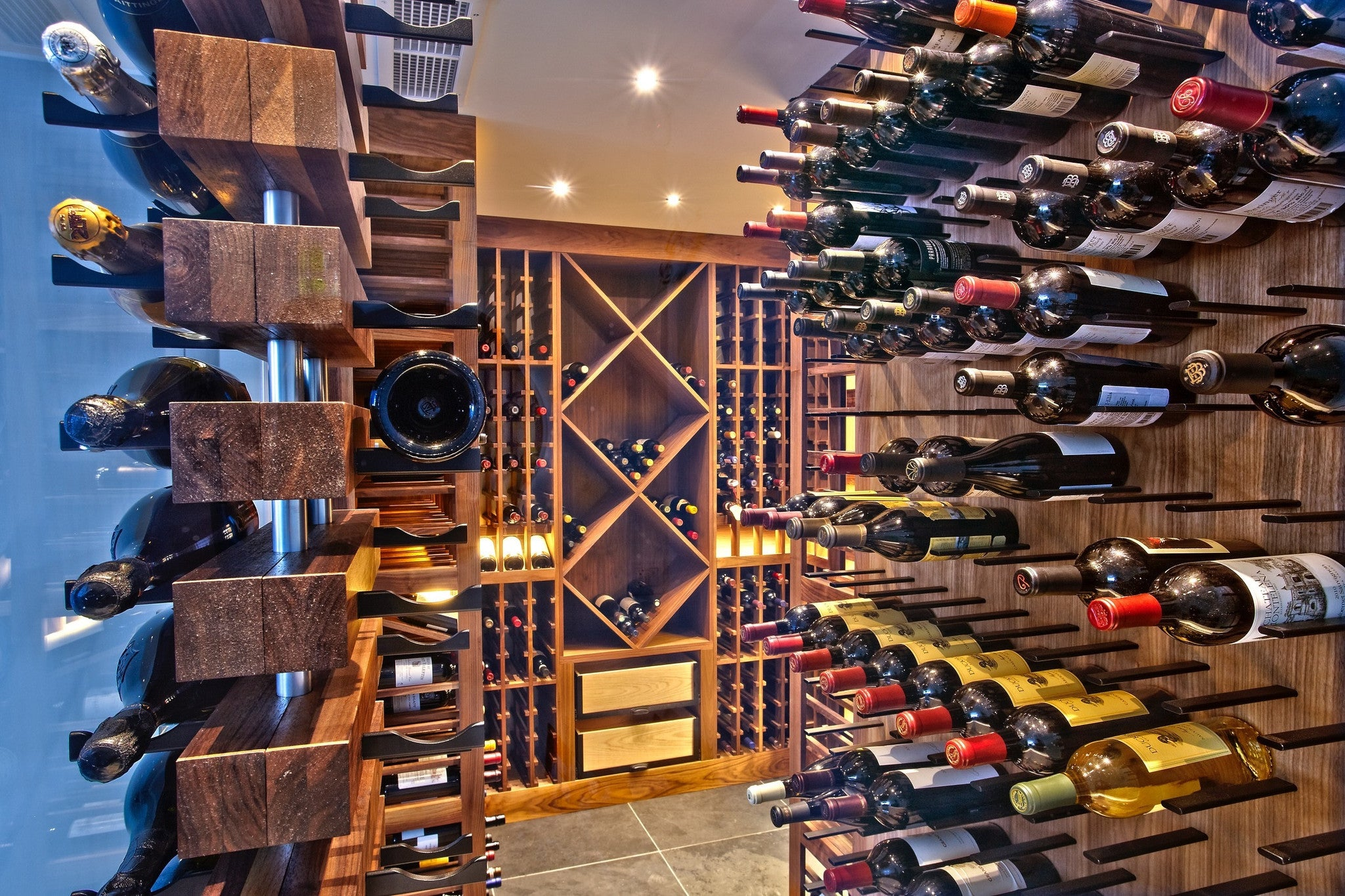 wine cellar with diamond bins metal and wood racking