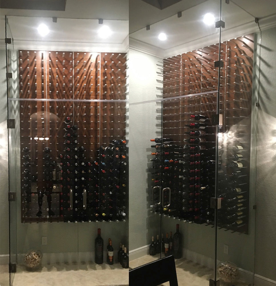 dining room wine cellar with glass enclosure - pompano beach florida