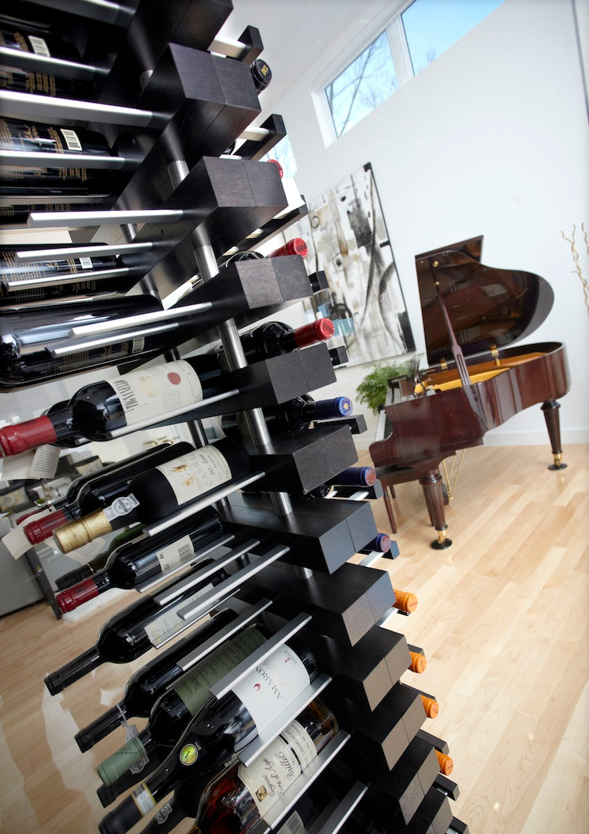 vertical floor to ceiling floating wine storage racks - STACT custom by CellArt