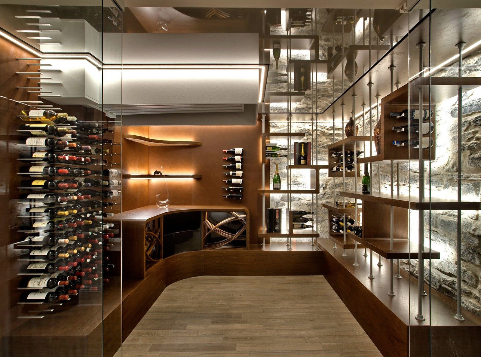 floor to ceiling wine storage in custom cellar