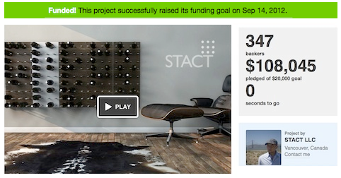 kicktarter wine rack crowdfunding - top wine crowdfuned startup in wine industry - STACT