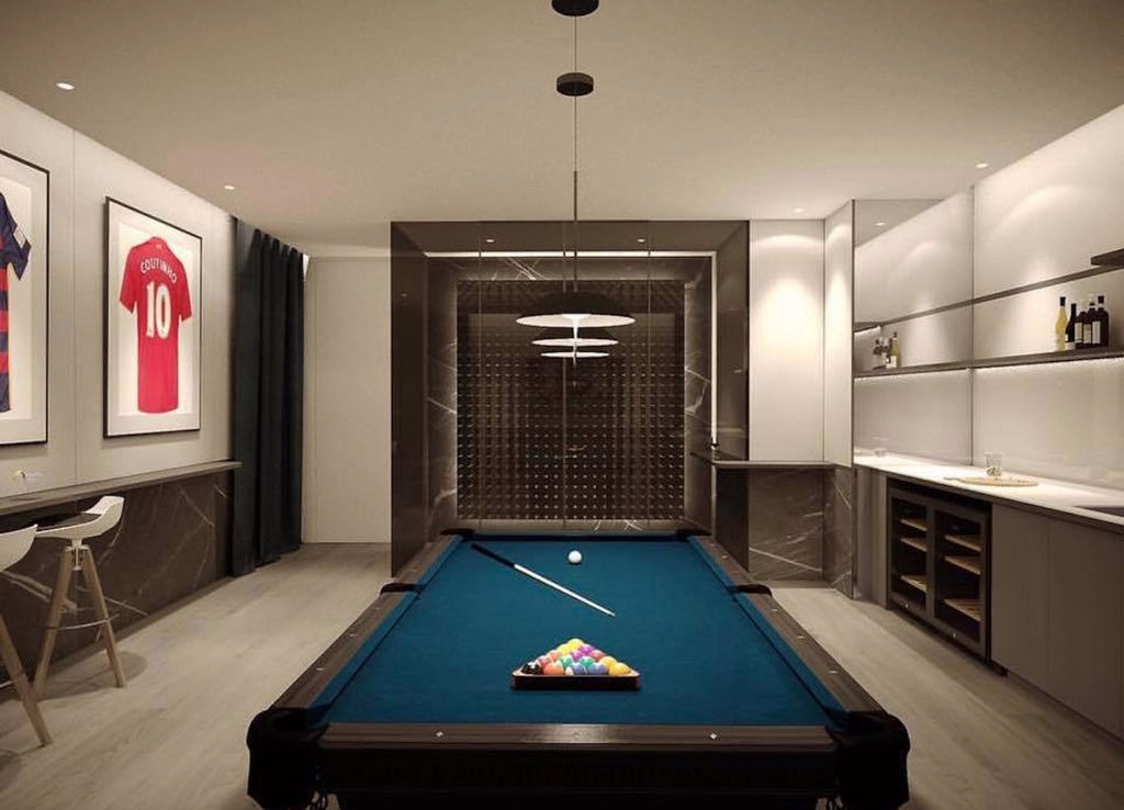 glass enclosed wine cellar in games room