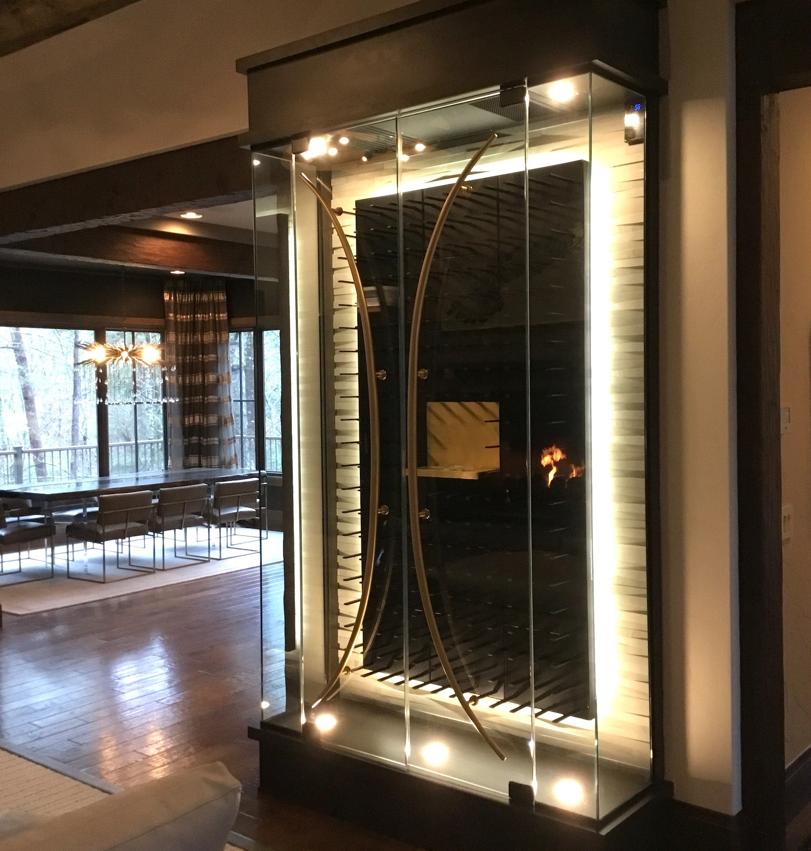 glass wine display cabinet
