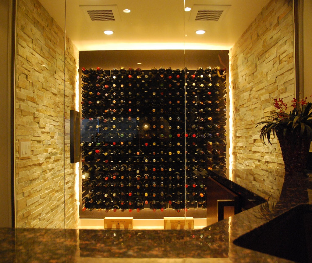 wine cellar with glass doors LED lights and wall mounted wine racks ... & Temperature Controlled Glass Wine Cellars