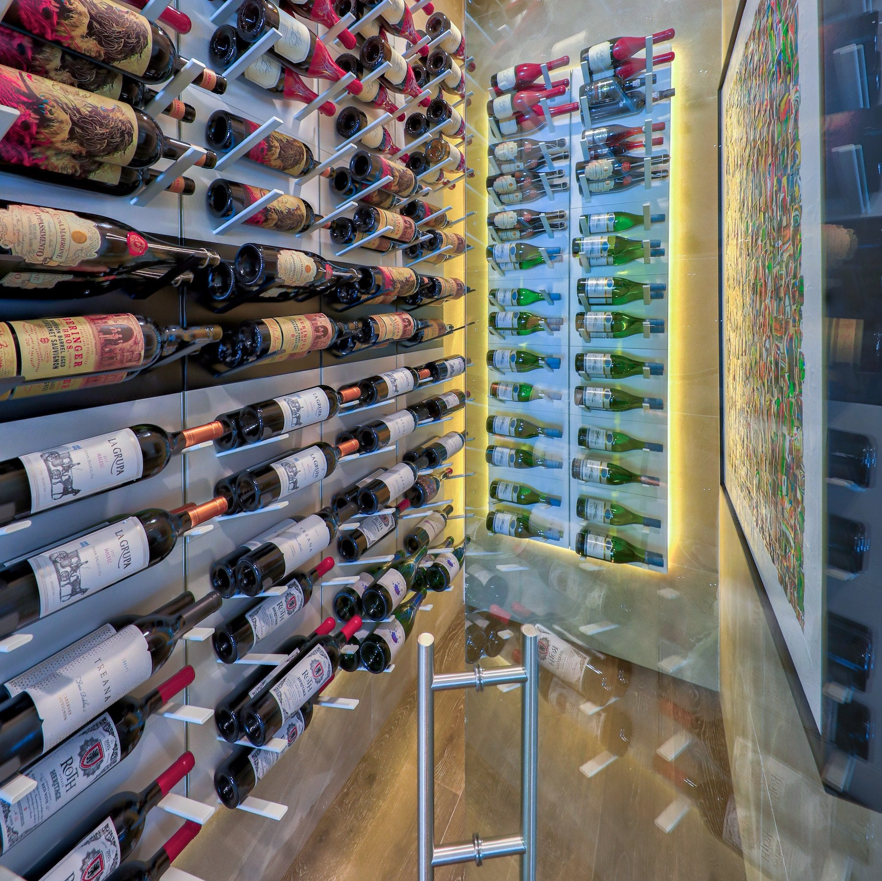 glass fronted wine cellar