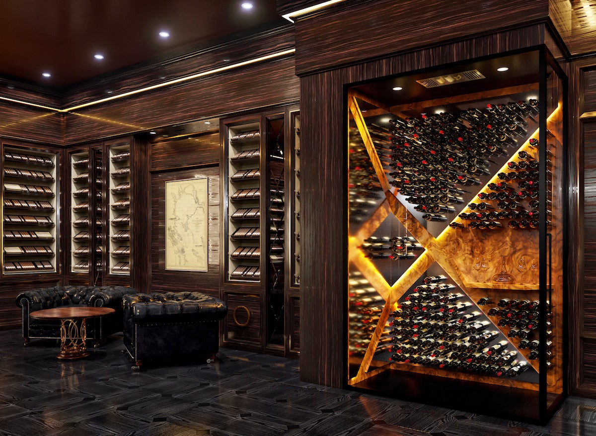 burled walnut glass-enclosed custom wine room