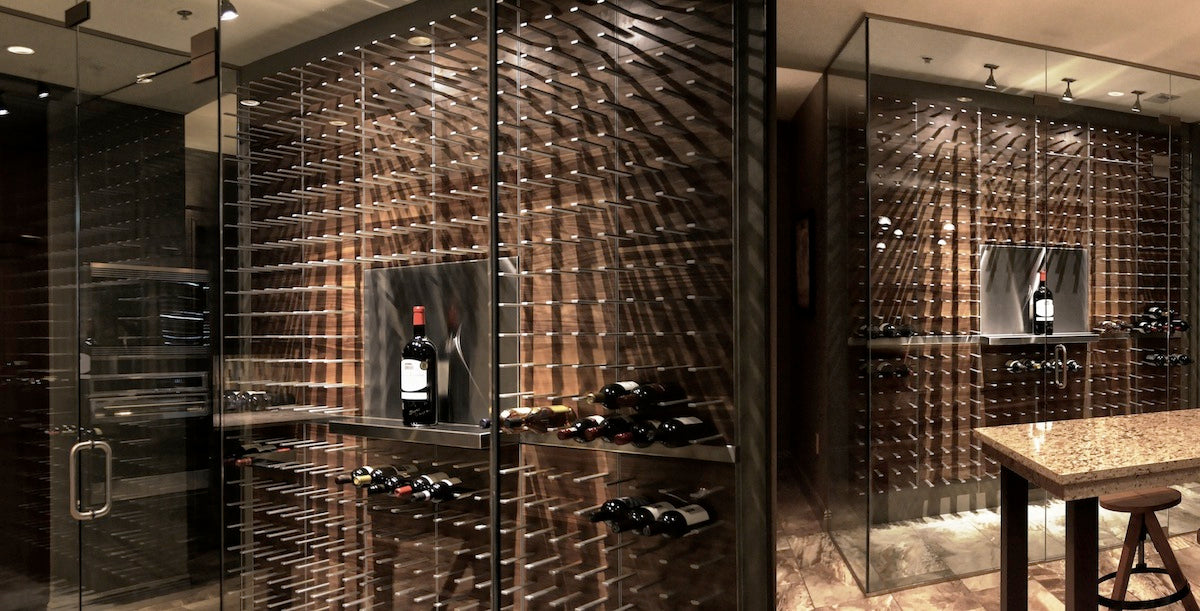 kitchen wine cellar with glass walls