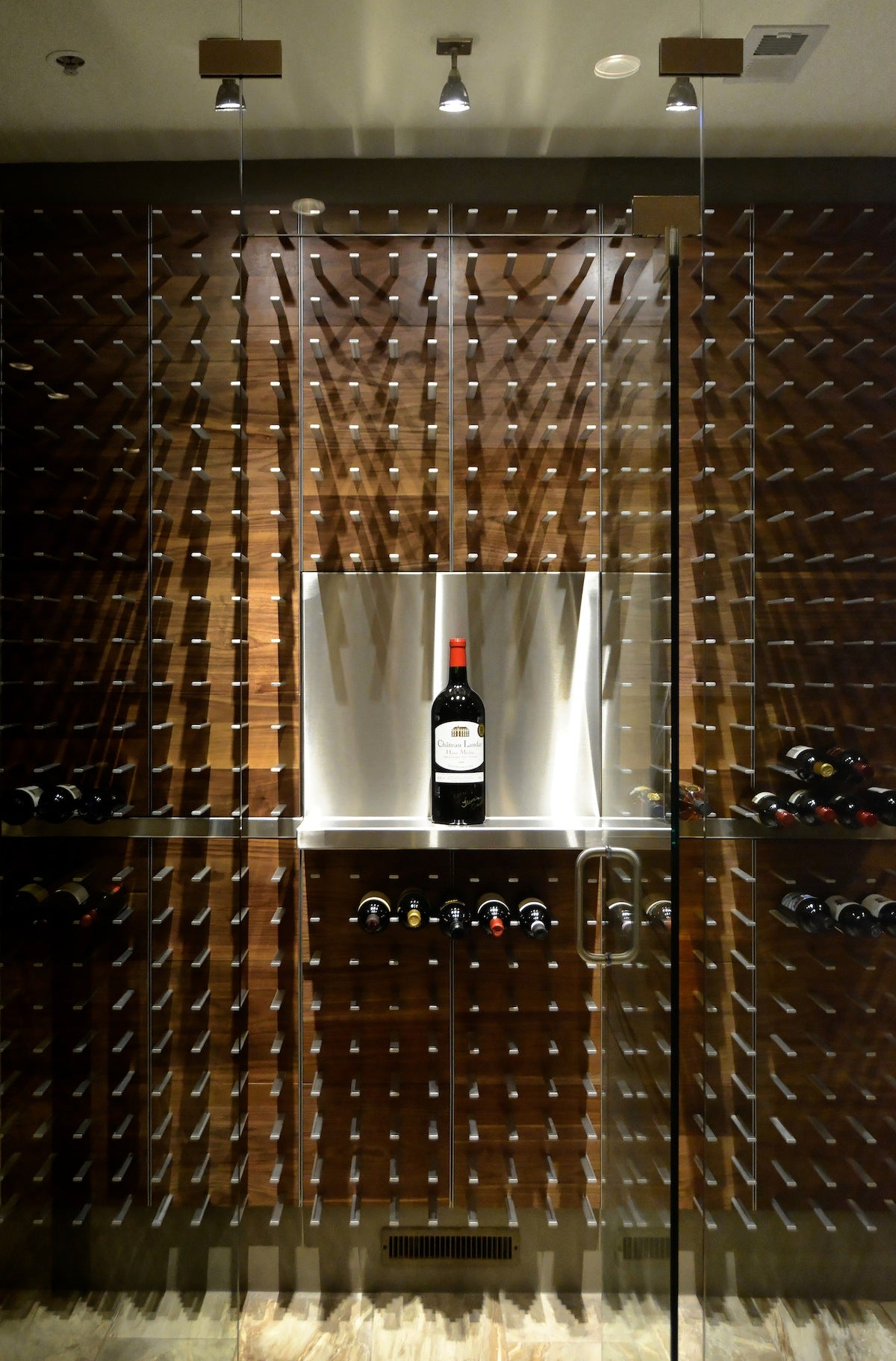 wine wall with custom magnum shelf