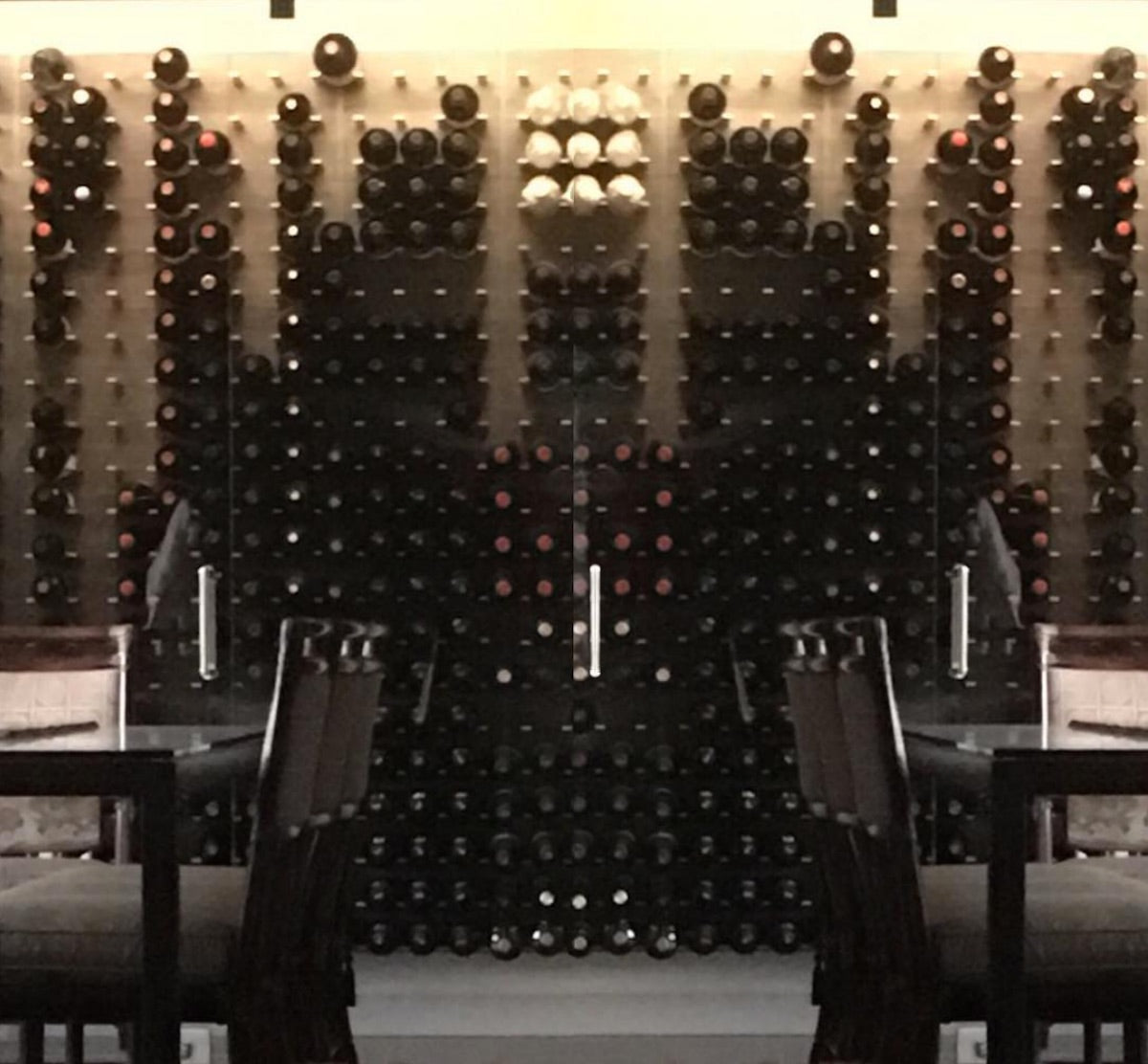 glass enclosed wine cellar at luxe calistoga napa valley