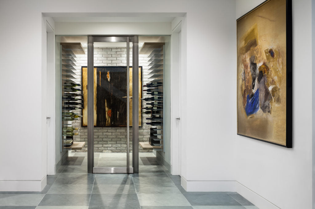 modern glass wine room