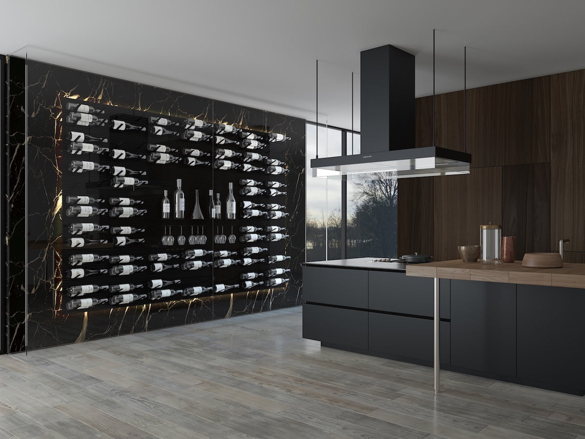 contemporary kitchen glass wine cellar