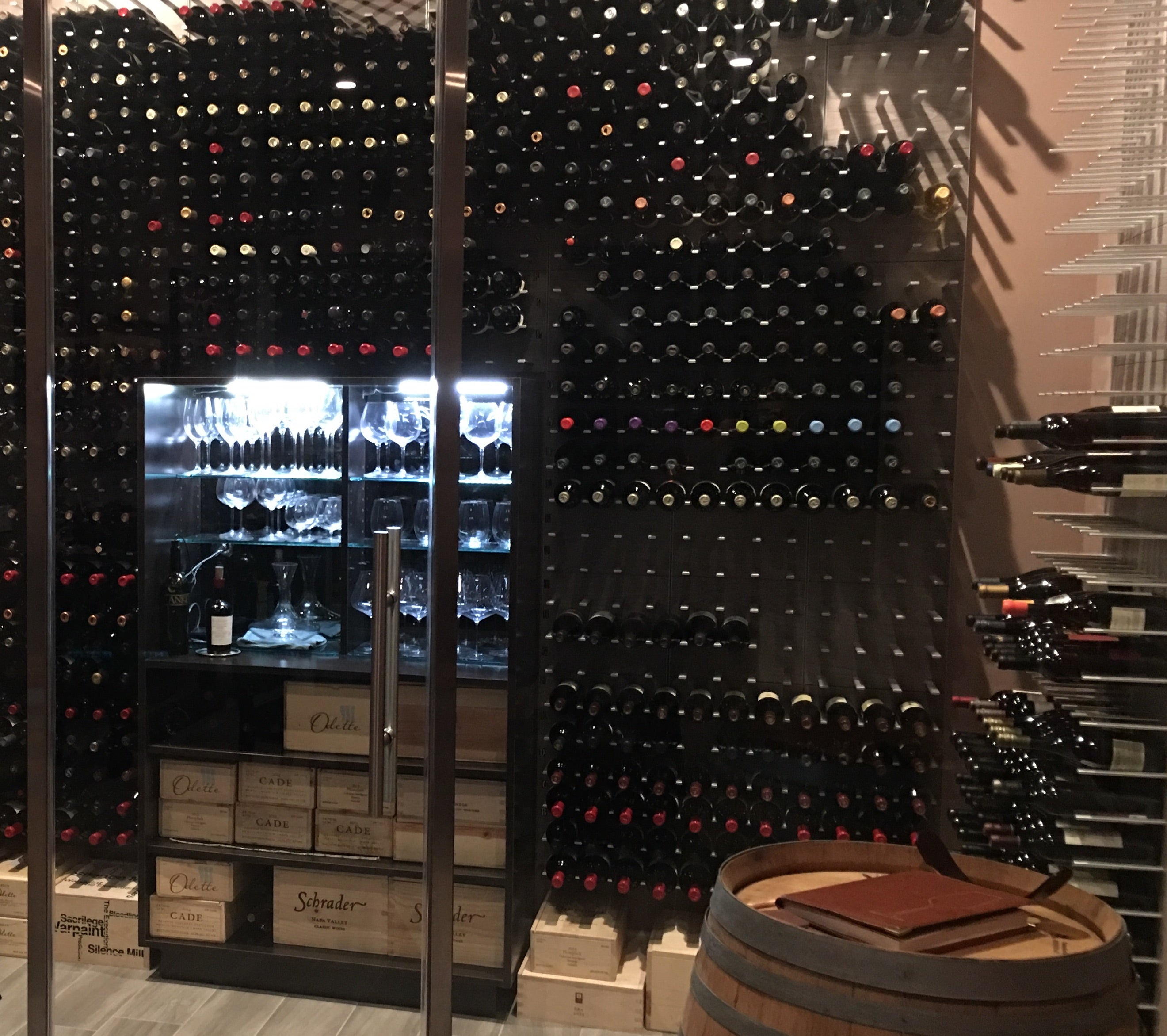 glass partitioned wine room
