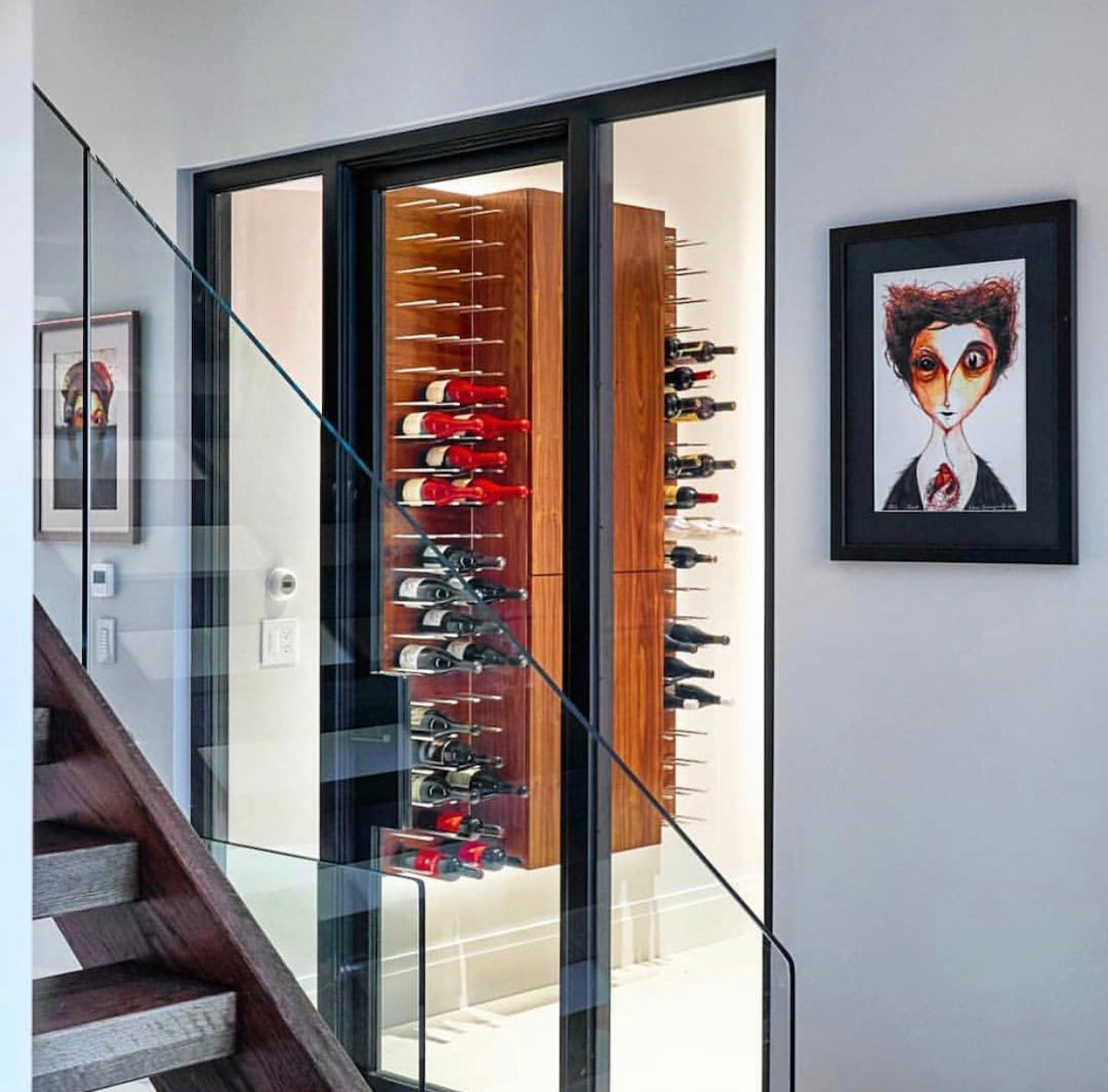 glass encased residential wine cellar ny