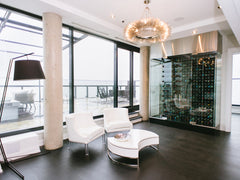 glass encased penthouse wine cellar - toronto luxury penthouse