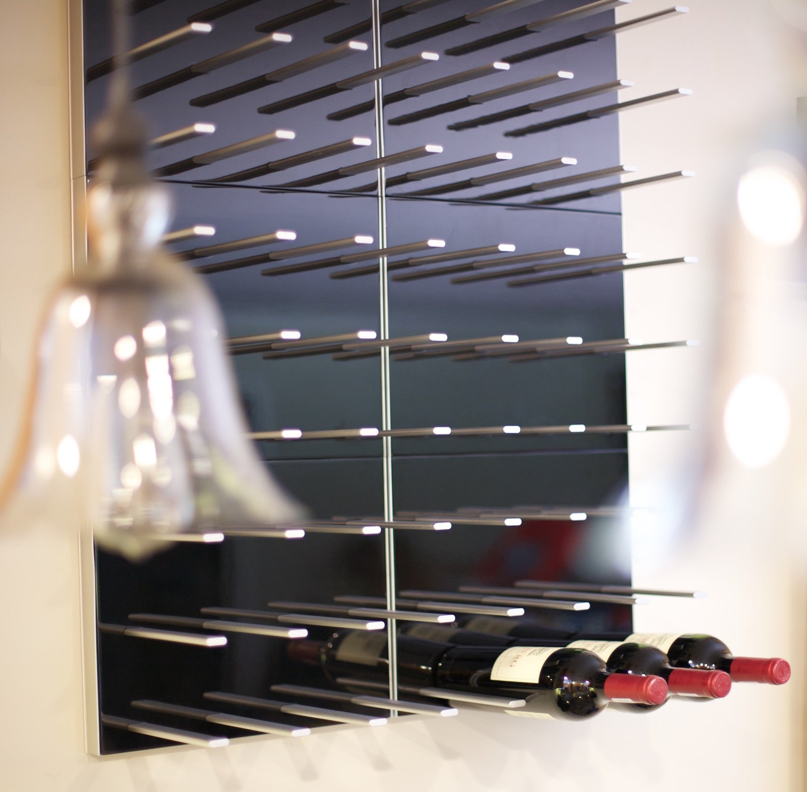 high gloss black wine storage panels