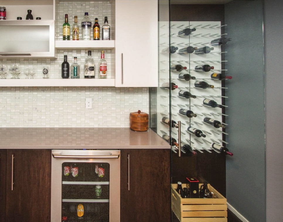 home bar with glass walled cellar - fargo ND