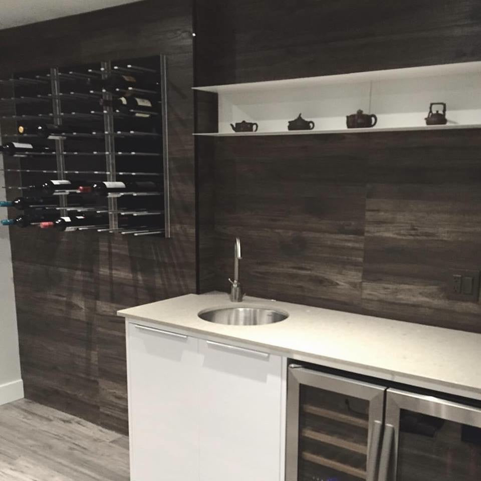 home bar wine storage racks with wood wall