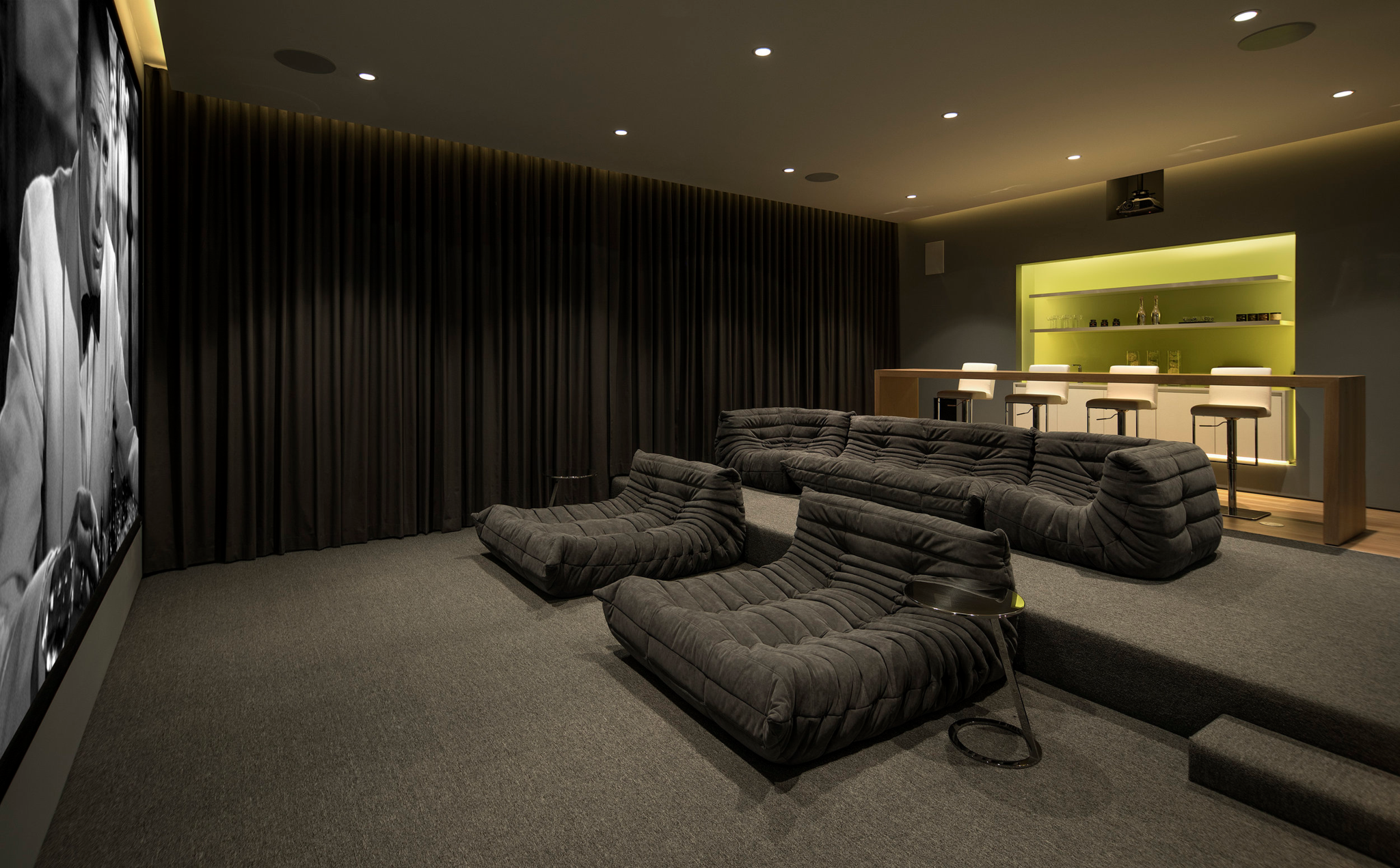 luxury wine bar design in home theatre screening room
