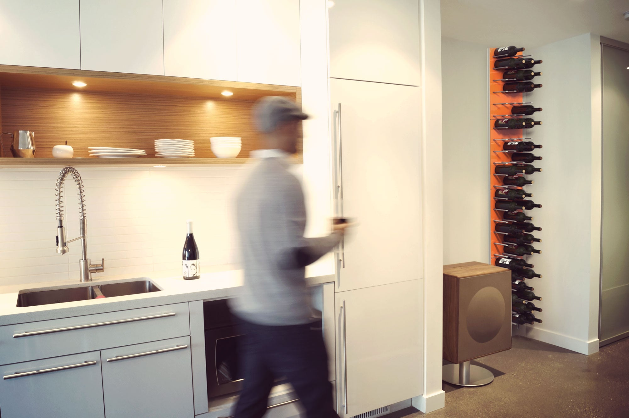 floor-to-ceiling wine wall rack - modular storage panels