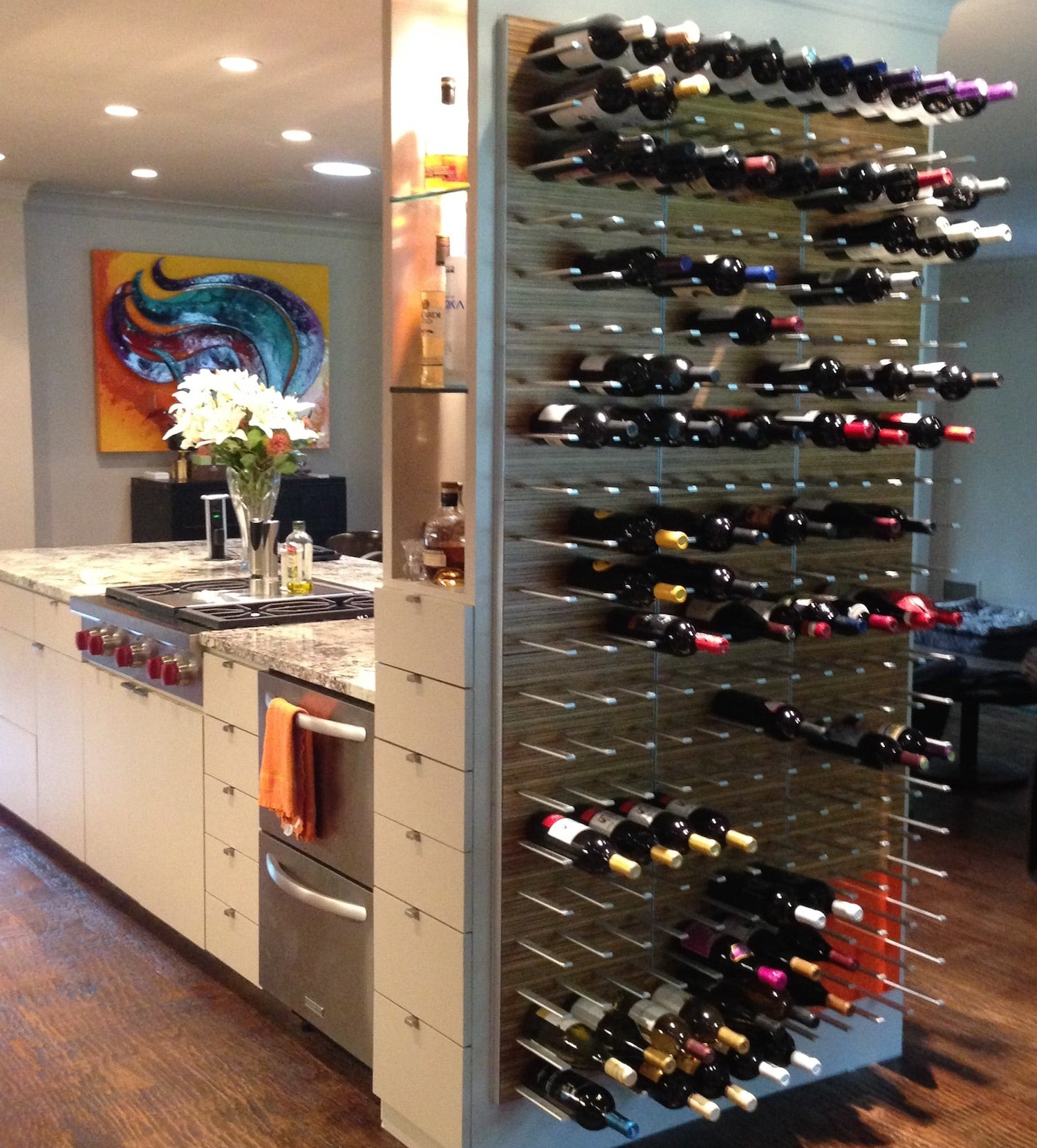 kitchen wine display wall