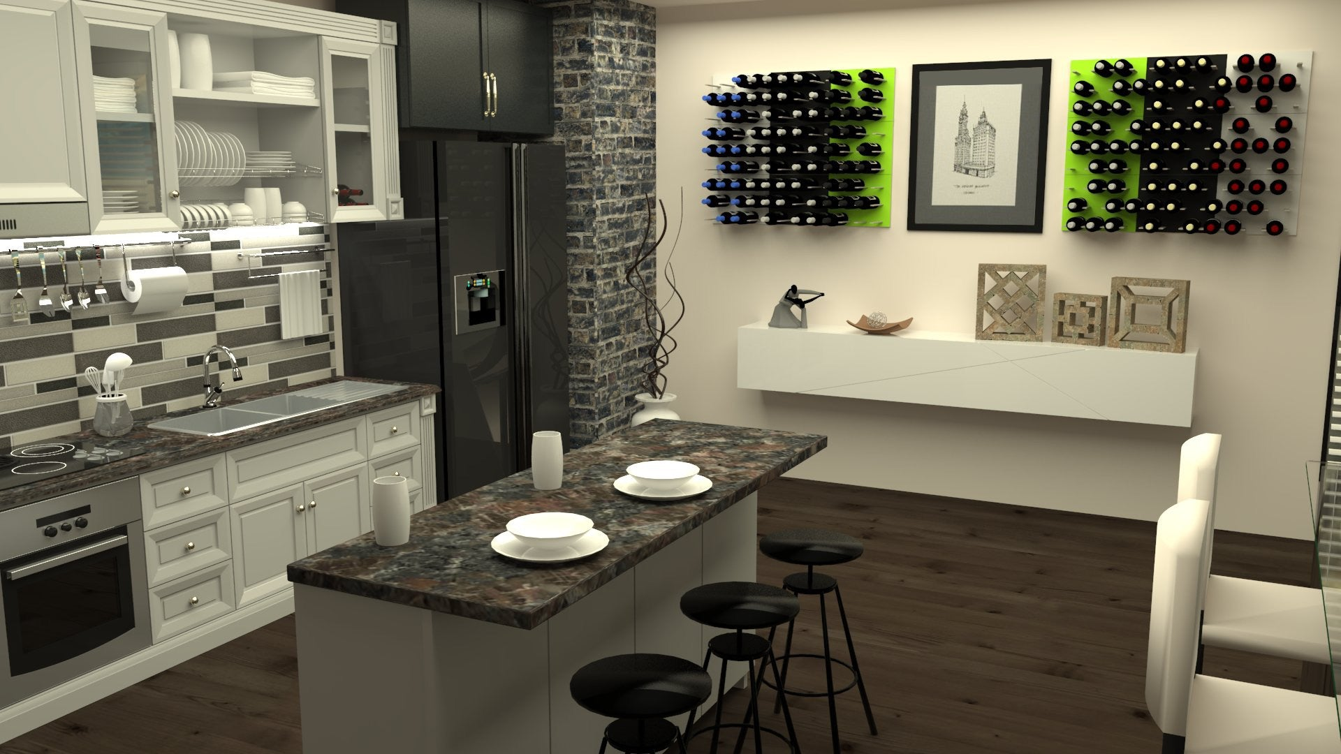 kitchen wine storage displays