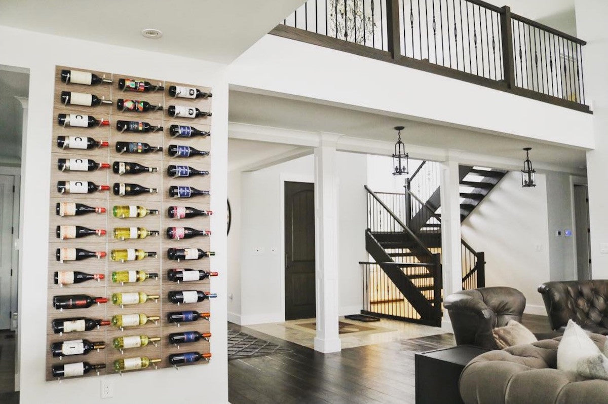 label-out wine storage wall