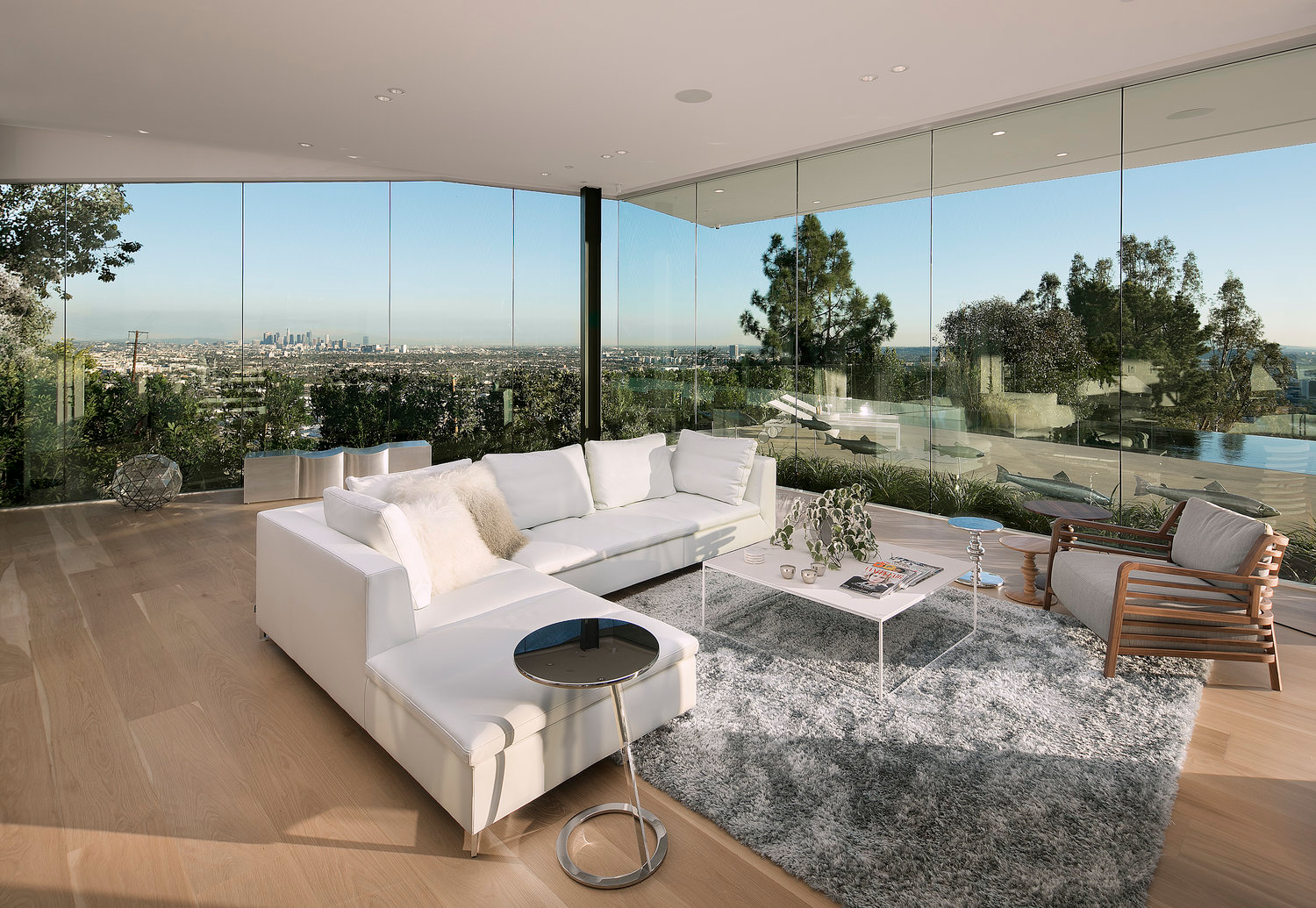 edge to edge glass walls hollywood hills home design