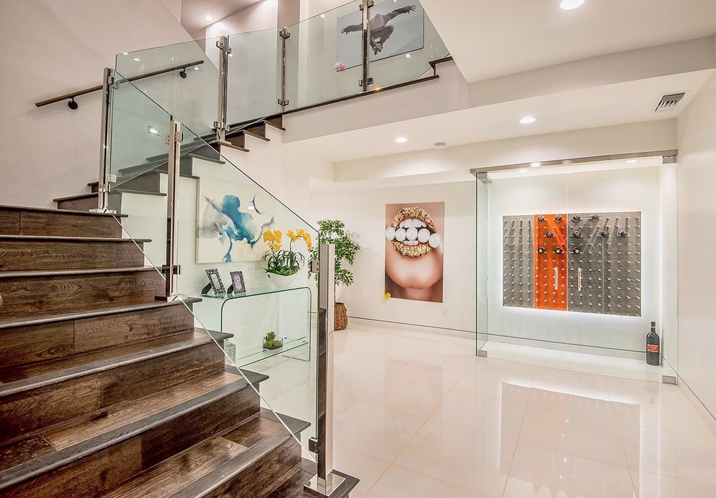 los angeles luxury glass enclosed wine cellar