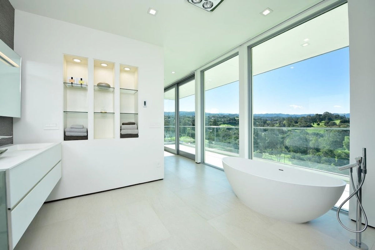 spa bathroom with soaker tub