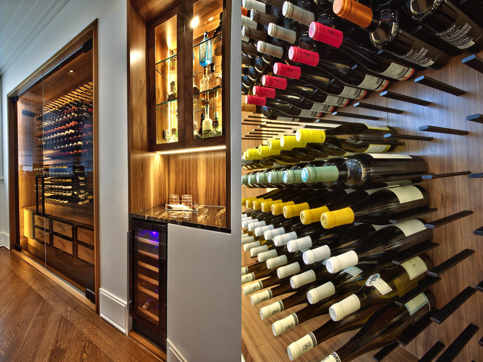 luxury home wet bar and wine cellar design