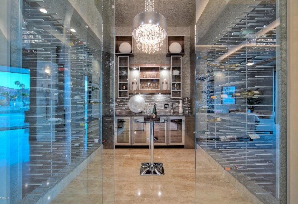 Modern Wine Cellar Sydney Glass encloses wine cellar with fridges STACT wine racks and tasting table ...