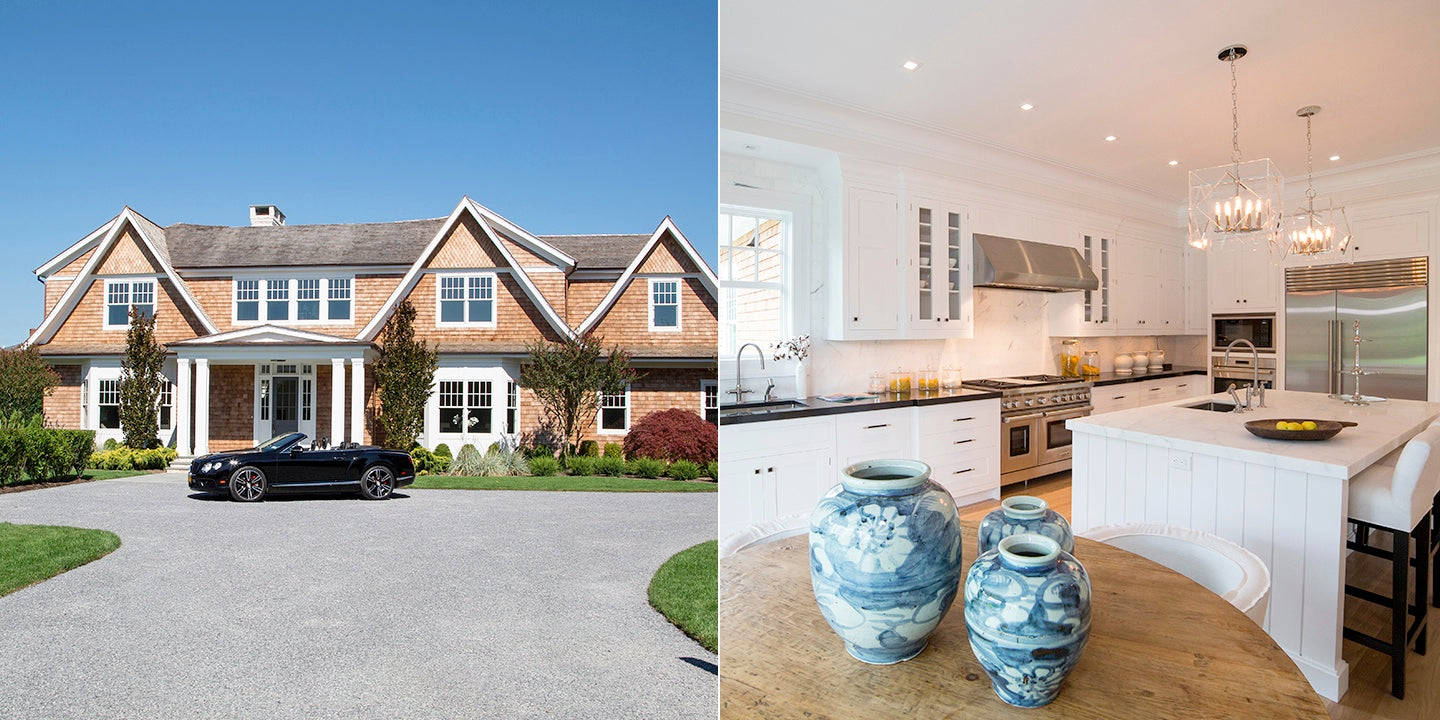 luxury home with gourmet kitchen and bentley in the hamptons