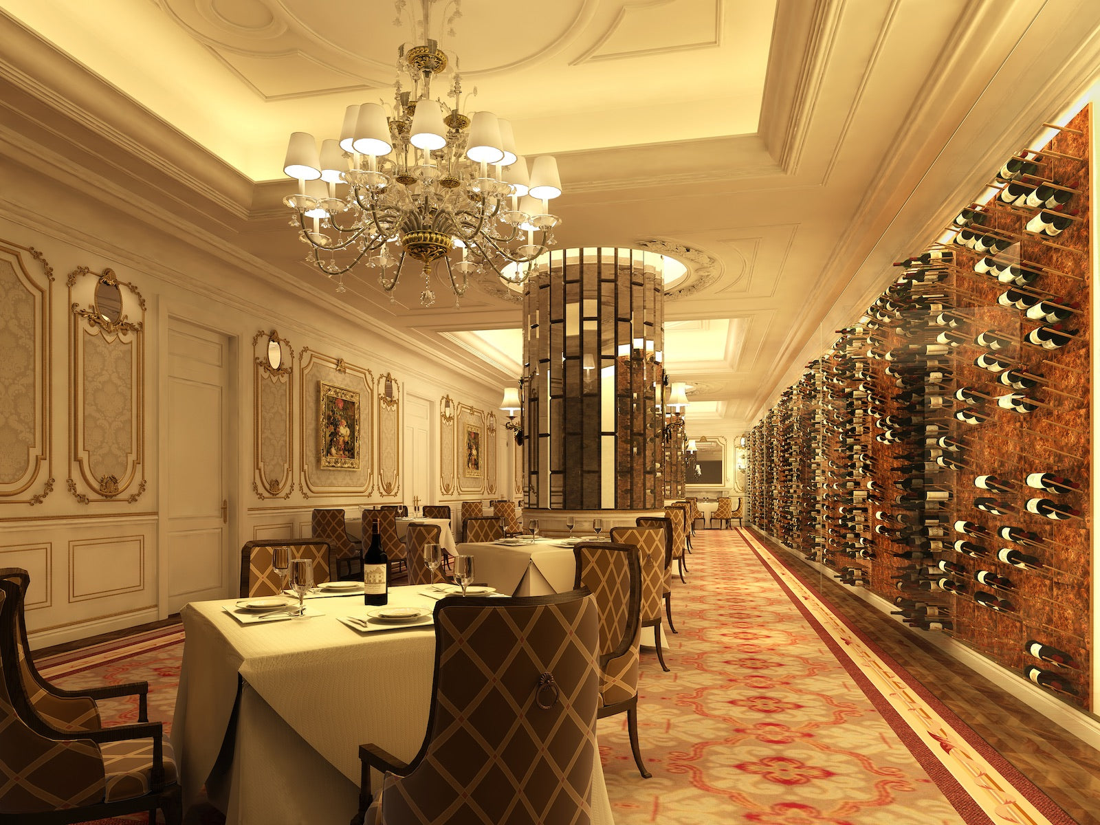 luxury restaurant wine room