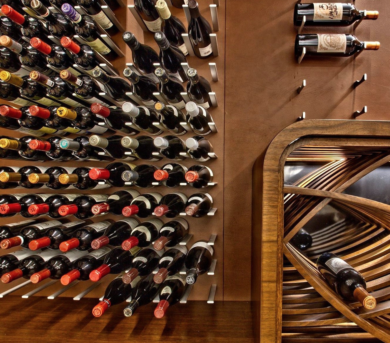 leather wall wine cellar