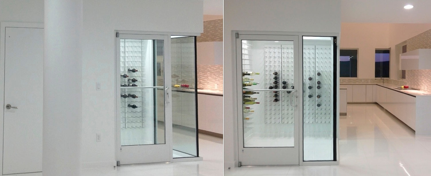 modern wine room with glass doors