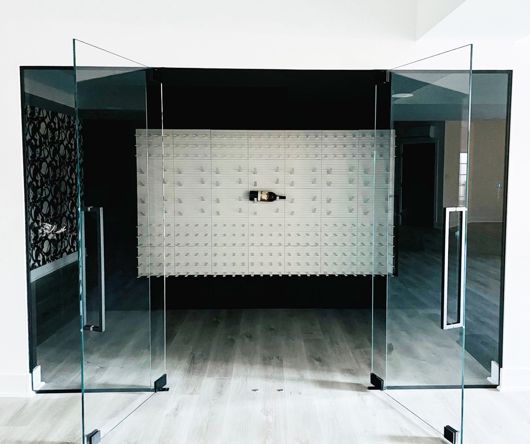 metal and glass modern wine rooms