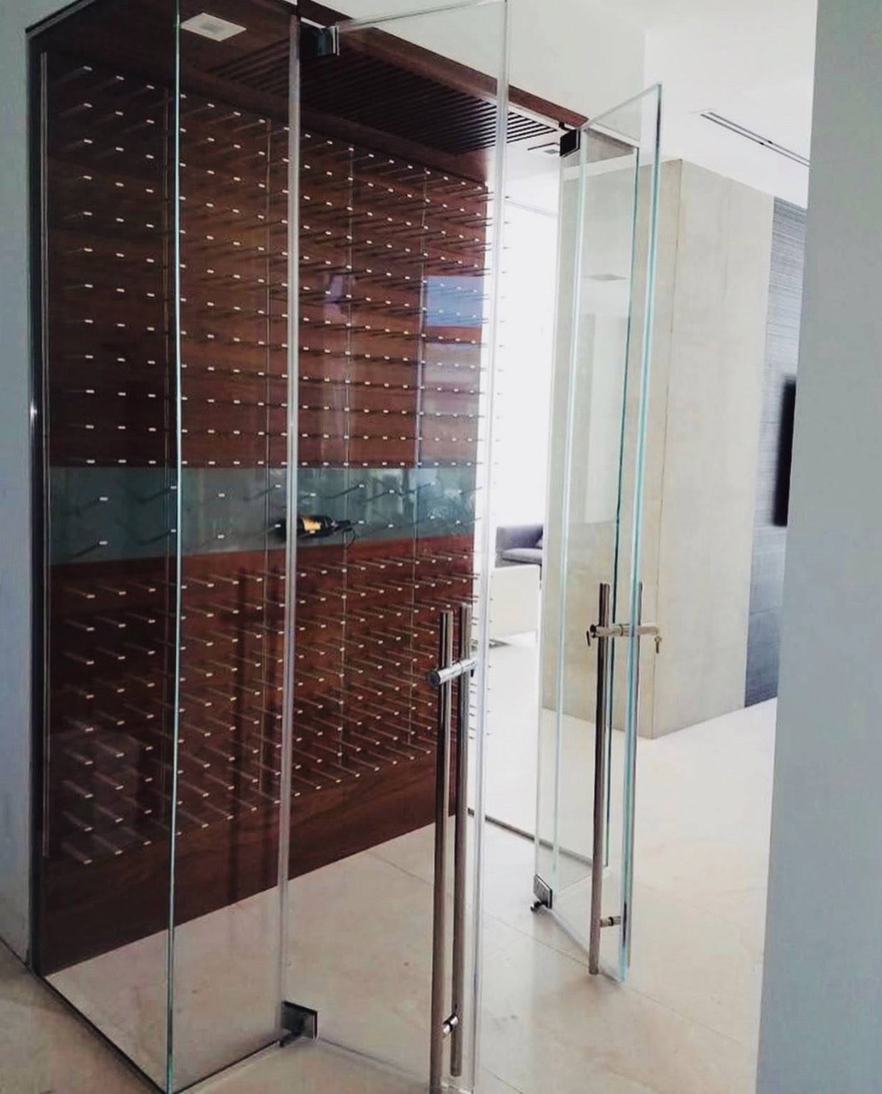 frameless glass wine room - miami fl
