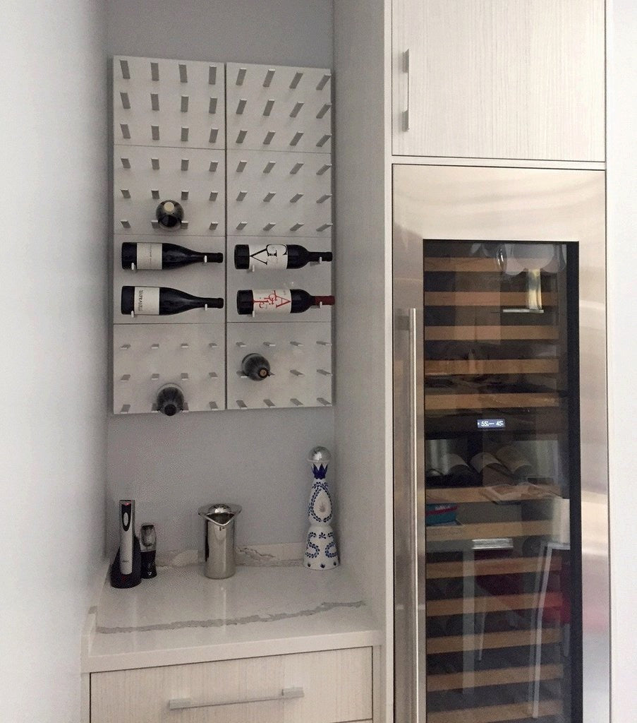 modern home bar with built-in wine storage cabinets