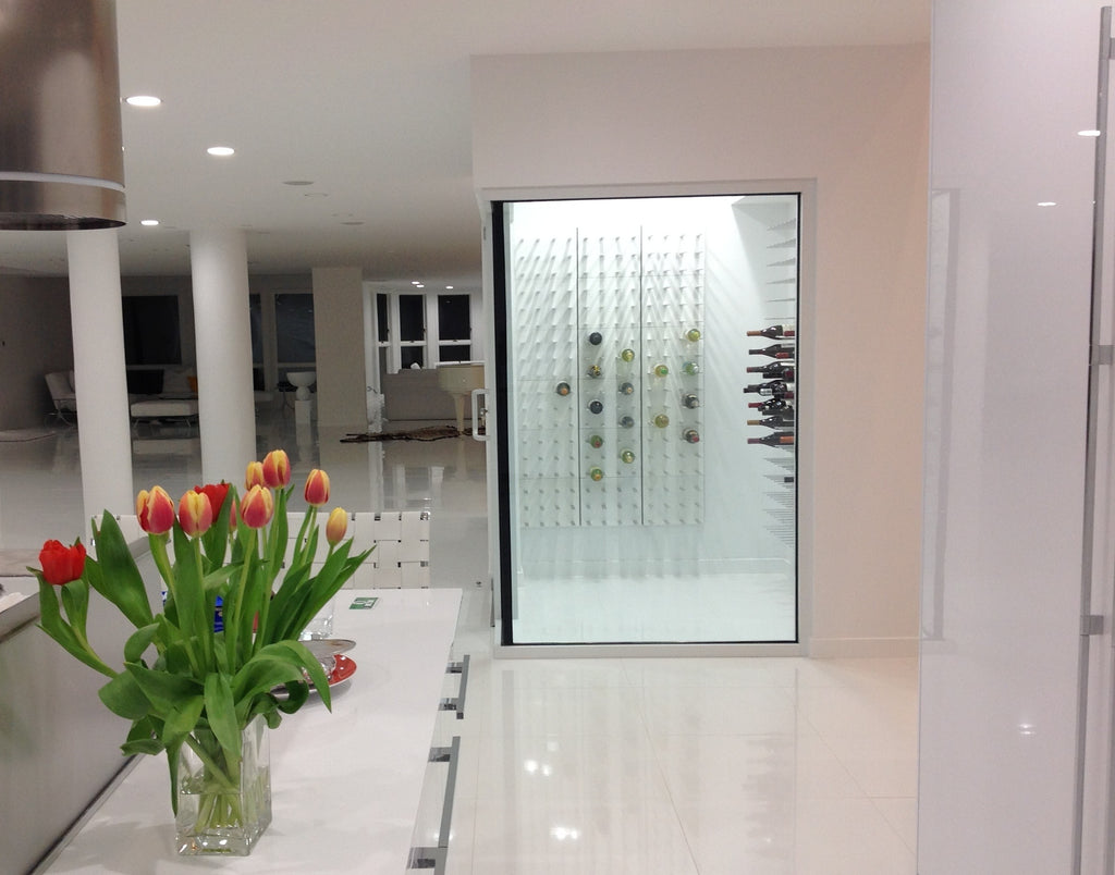 modern enclosed wine cellar with temperature control and stunning visual wine rack display