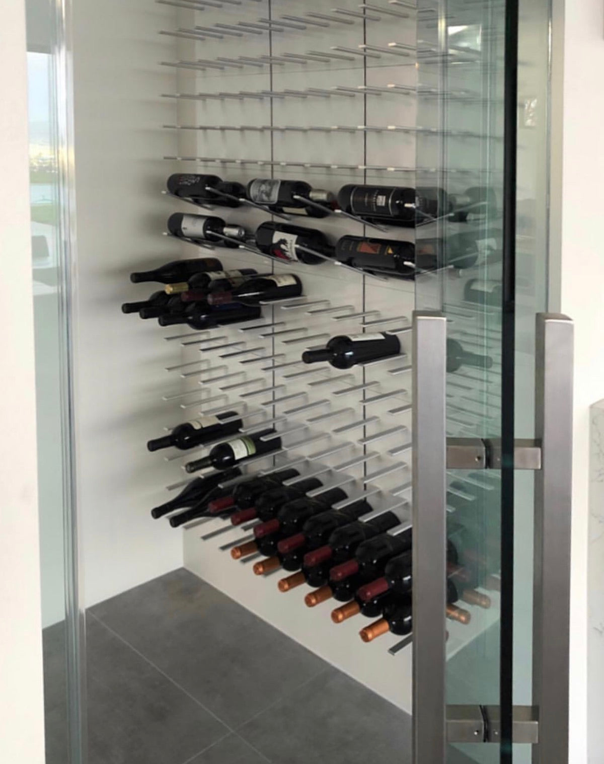 compact glass wine room