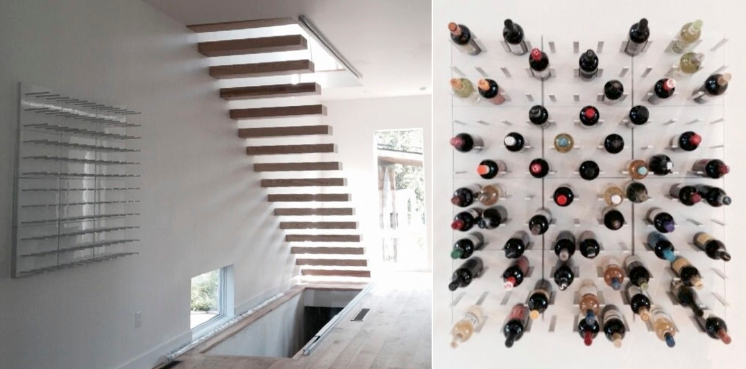 Unique wine rack design with minimalist STACT
