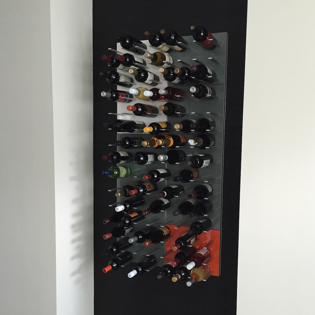 multi-colored wine display rack