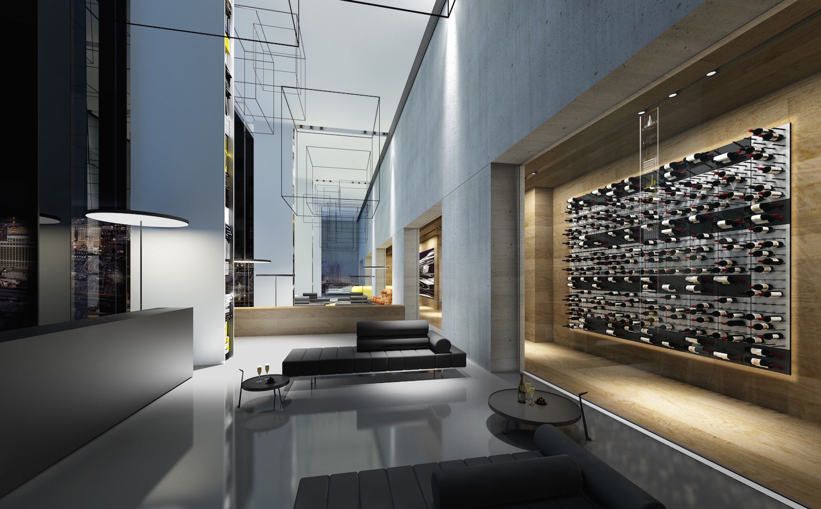 luxury hotel glass-walled wine display