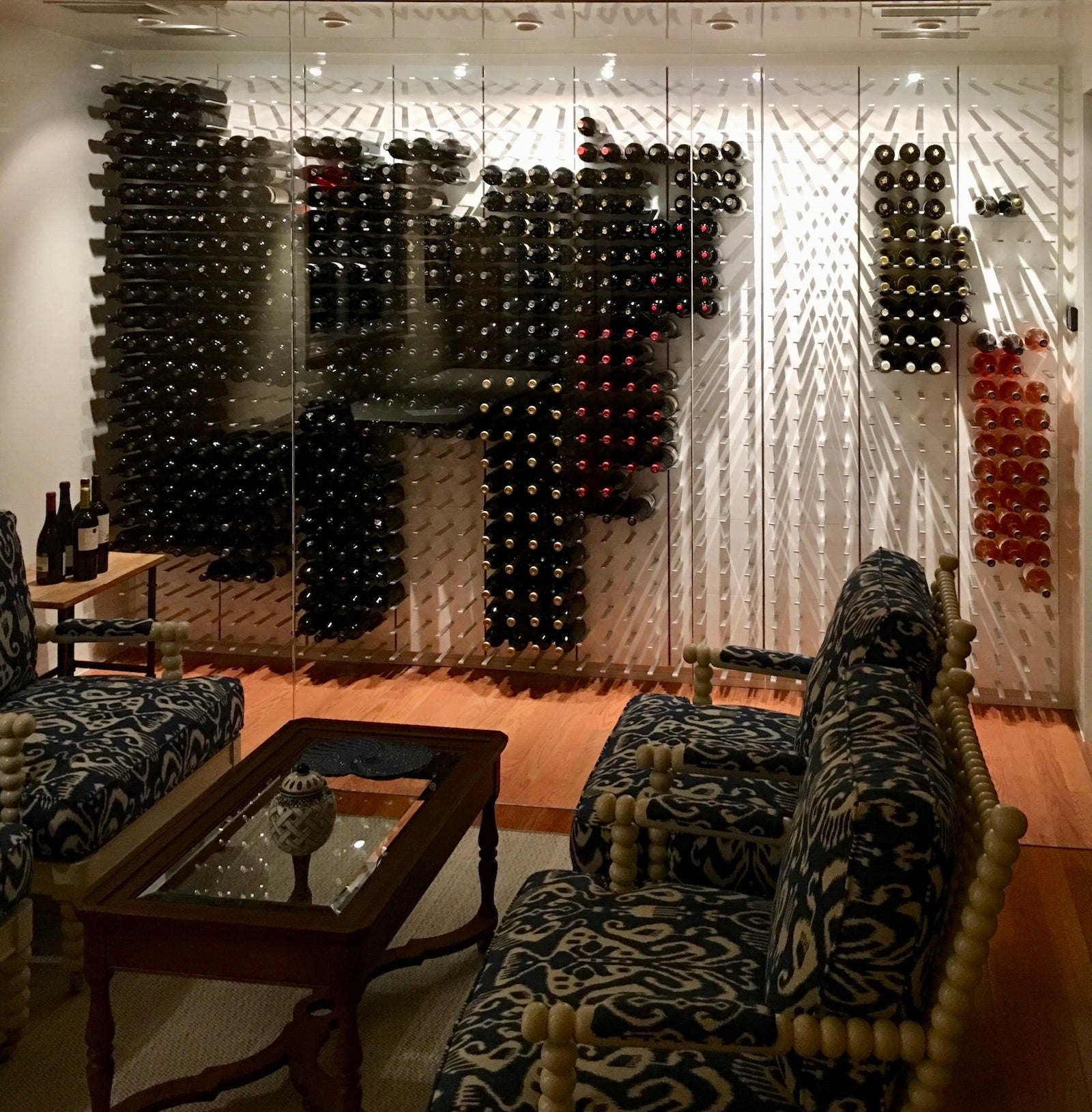 wall to wall glass wine cellar - westhampton beach home
